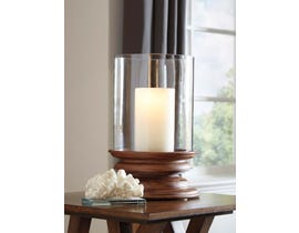 Signature Design by Ashley DOUGAL Series Brown finished wood and clear glass Candle Holder A2000260