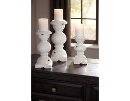 Signature Design by Ashley DEVORAH Series Antique white glazed ceramic candle holders A2000267 (set of 3)