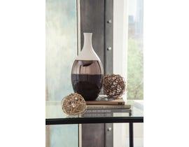 Signature Design by Ashley DERICIA Series Cream metalic bronze and brown glazed ceramic vase A2000309