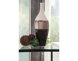 Signature Design by Ashley DERICIA Series Cream metalic bronze and brown glazed ceramic vase A2000311