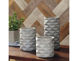 Signature Design by Ashley CHARLOT Series Faux concrete finish vases A2000312 (set of 3)