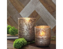 Signature Design by Ashley CHRISTELLE Series Distressed grey finished glass candle holders A2000313 (set of 2)