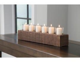 Signature Design by Ashley CASSANDRA Series Brown finished wood and clear glass candle holder A2000315