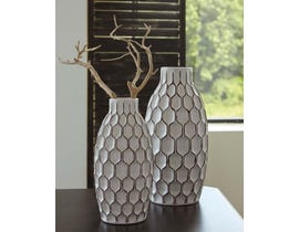 Signature Design by Ashley DIONNA Series White and brown glazed ceramic Vases A2000329 (set of 2)