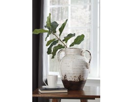 Signature Design by Ashley DION Series Distressed white glazed ceramic Vase A2000330