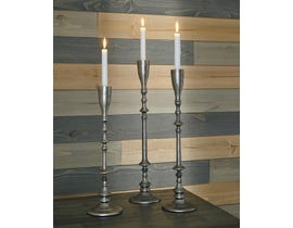 Signature Design by Ashley DIMAIA Series Antique silver finished metal candle holders A2000347 (set of 3)