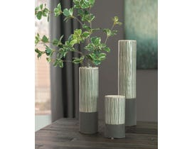 Signature Design by Ashley ELWOOD Series Light and dark gray glazed ceramic vases A2000351 (set of 3)