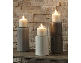 Signature Design by Ashley DEUS Series Brown gray and white glazed ceramic and clear glass candle holder A2000352 (set of 3)