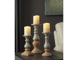 Signature Design by Ashley EMELE Series Taupe and tan glazed ceramic candle holder A2000354 (set of 3)