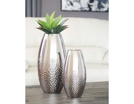 Signature Design by Ashley DINESH Series Silver glazed ceramic vases A2000355 (set of 2)