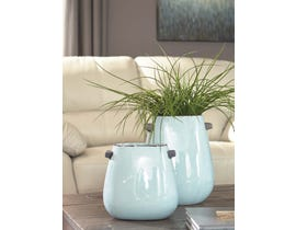 Signature Design by Ashley DIAH Series Blue texture glazed ceramic vases A2000364 (set of 2)