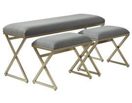 Signature Design by Ashley 3 Piece Emanita Series Fabric Accent Bench in Neutral A3000084