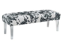 Signature Design by Ashley Brooklee Series Fabric Accent Bench in Black/Cream/Silver A3000090