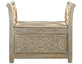 Signature Design by Ashely Fossil Ridge Series Accent Bench in whitewash A4000001