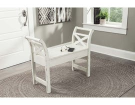 Signature Design by Ashley Heron Ridge Collection Accent Bench in White A4000036