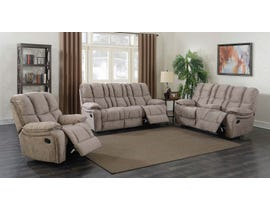 Prime Kendrick 3 Piece Leather Reclining Sofa Set in Brown A529