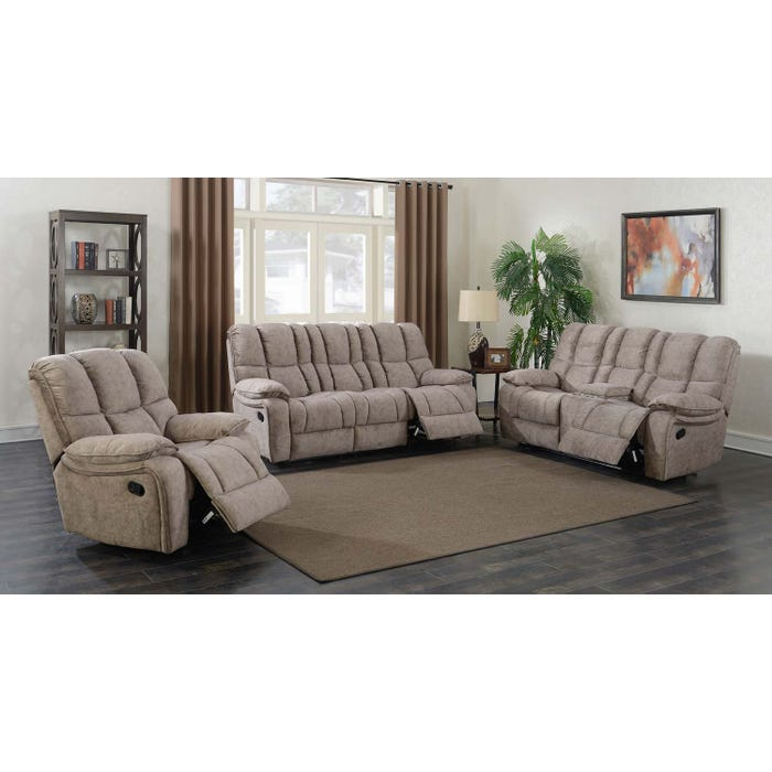 Prime Kendrick 3 Piece Fabric Reclining Sofa Set In Brown A529