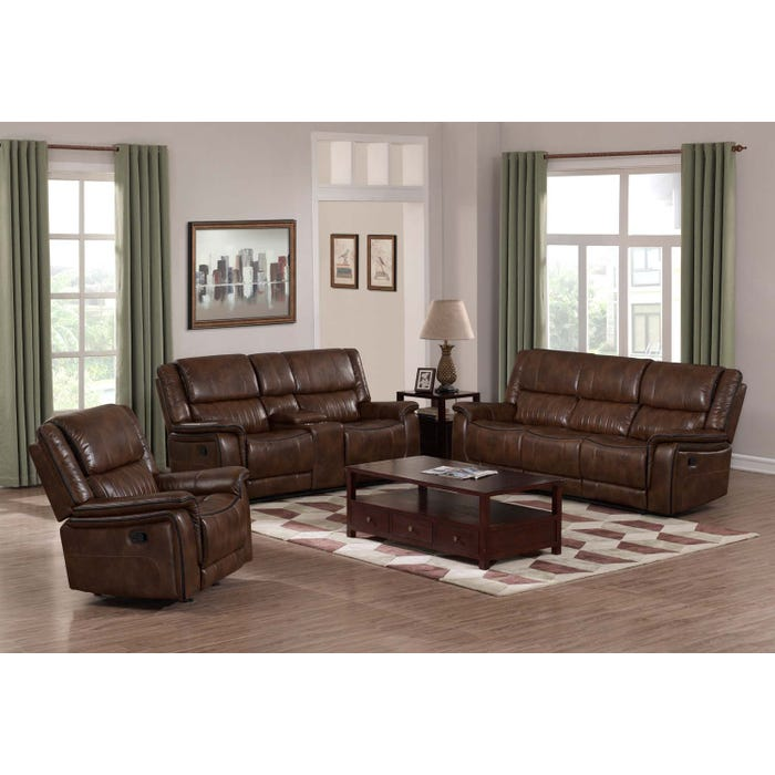 Primo Arlington 3 Piece Leather Reclining Living Room Set in Brown A572