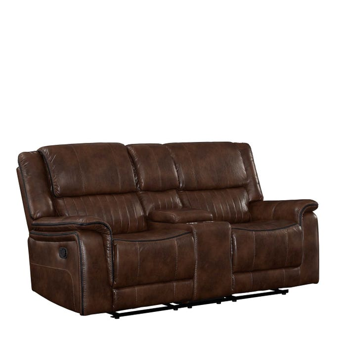 Primo Arlington Leather Reclining Love seat in Brown A572