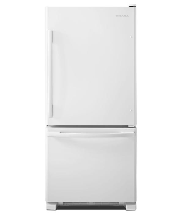 Amana 29 inch 18 cu. ft. Wide Bottom-Freezer Refrigerator  With EasyFreezer Pull-Out Drawer in white ABB1924BRW