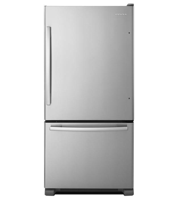 Amana 33 inch 22.1 cu. ft. Bottom-Freezer Refrigerator in Stainless Steel ABB2224BRM