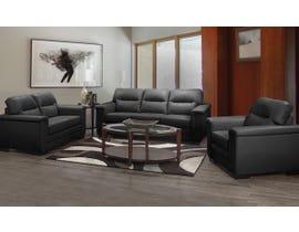 A&C Furniture 3pc Leather Look Sofa Set in Black 6150
