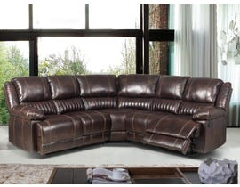 Flair Acton Series 3pc Reclining Sectional in Dark Brown