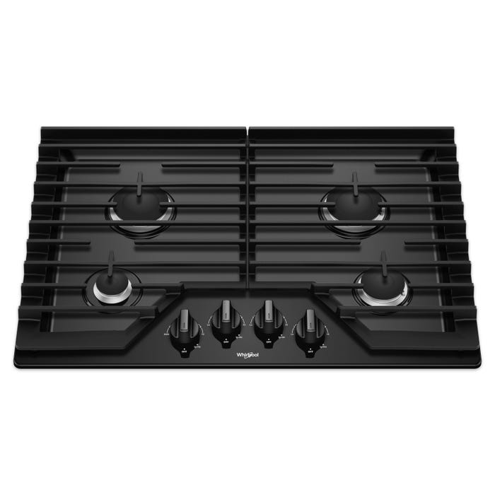Whirlpool 30 Inch Gas Cooktop with EZ-2-Lift Hinged Cast-Iron Grates WCG55US0HB