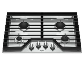 Whirlpool 30 Inch Gas Cooktop with EZ-2-Lift Hinged Cast-Iron Grates WCG55US0HS