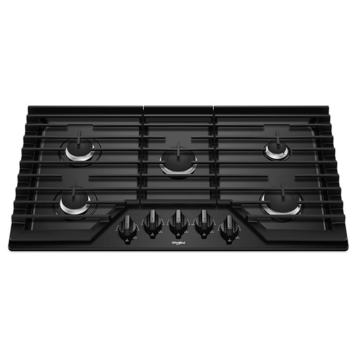 Whirlpool 36 Inch Gas Cooktop with EZ-2-Lift Hinged Cast-Iron Grates WCG55US6HB