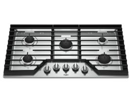 Whirlpool 36 Inch Gas Cooktop with EZ-2-Lift Hinged Cast-Iron Grates WCG55US6HS