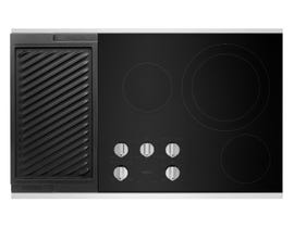 Maytag 36 inch 5-Element Electric Cooktop with Reversible Grill and Griddle in Stainless Steel MEC8836HS