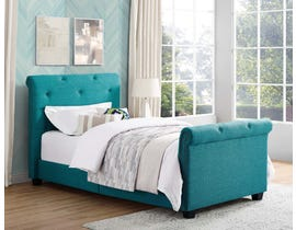 High Society Allie Upholstered Twin Sleigh Bed in Heirloom Teal UAI087THG