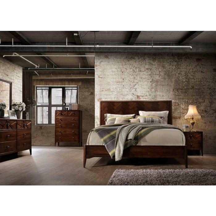 Hommax Furniture Andrea Collection 6-Piece Wood Queen Bedroom Set in Cherry HMND006