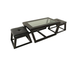 Kelton wood and glass coffee table in black with two stools T592-1