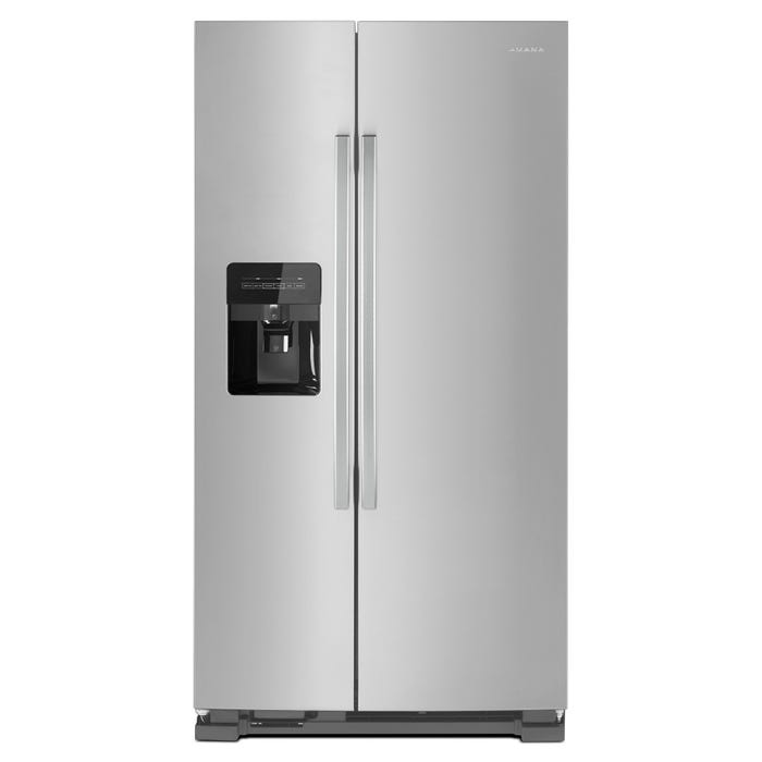 Amana 33 inch 21 cu. ft. Side-by-Side Refrigerator with Dual Pad External Ice and Water Dispenser in stainless steel ASI2175GRS