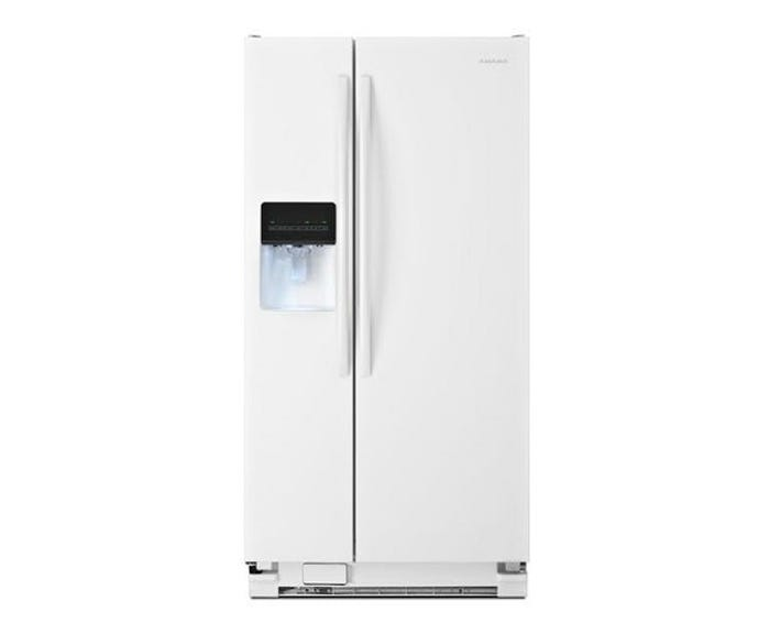Amana 33 inch 21 cu. ft. Side-by-Side Refrigerator with Dual Pad External Ice and Water Dispenser in White ASI2175GRW