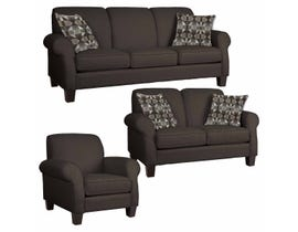 Décor-Rest Joey Sky Collection Fabric 3Pc Sofa Set in Aspen Espresso/Toasty Cocoa 2025
