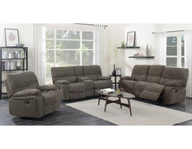 High Society Athens 3-Piece Fabric Reclining Living  Room Set in Brown