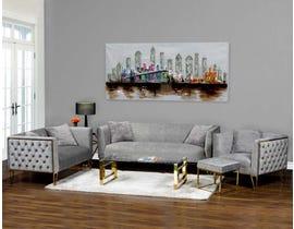 K Elite 3 Piece Aura Living Room Sofa Set in Grey HD-1652SLC