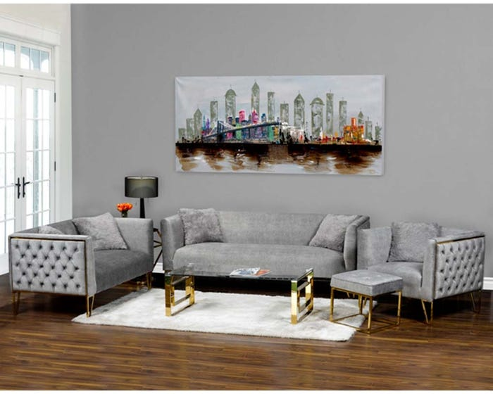 K Elite 3 Piece Aura Living Room Sofa Set in Grey HD-1652SLC