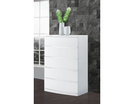 Global Furniture Aurora Chest White Wood Veneer