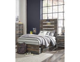 Signature Design by Ashley Drystan Collection Engineered Wood Twin Panel Bed with Under Storage in Multi B211-53-52-83-50