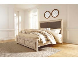 Signature Design by Ashley Benchcraft Collection King Panel Bed with Storage in Weathered Beige B215B11