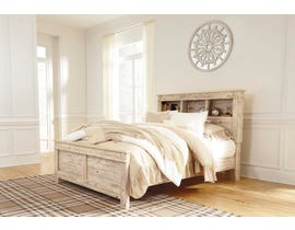 Signature Design by Ashley Benchcraft Collection Queen Bed in Weathered Beige with bookcase headboard B215B6