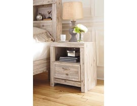Signature Design by Ashley Benchcraft Collection 1 Drawer Nightstand in Weathered Beige B215