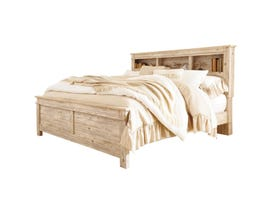 Signature Design by Ashley Benchcraft Collection King Bookcase Headboard Bed in Weathered Beige B215B10