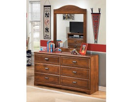 Signature Design by Ashley Dresser and Mirror in medium brown B228B1