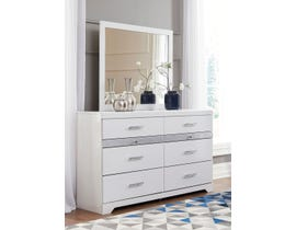 Signature Design by Ashley Jallory Dresser and Mirror in White Walnut B302