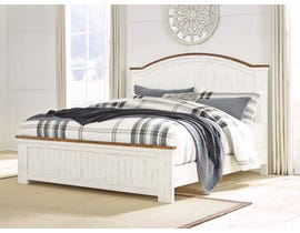 Benchcraft by Ashley Queen Panel Bed in White/Brown B549B2